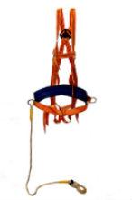 Удерживающая страховочная привязь с наплечными и набедренными лямками (строп канат)