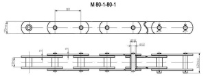 Продажа цепи тяговой пластинчатой М80 по недорогой цене, доставка по России
